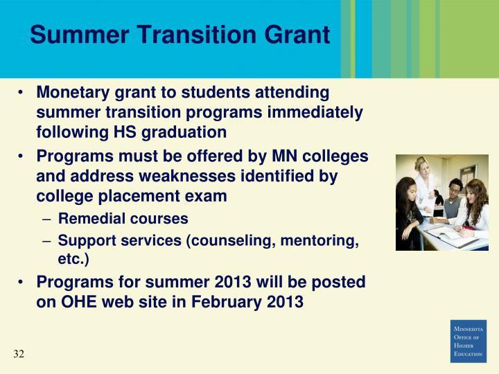 Summer Transition Grant