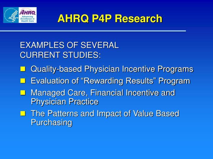 AHRQ P4P Research