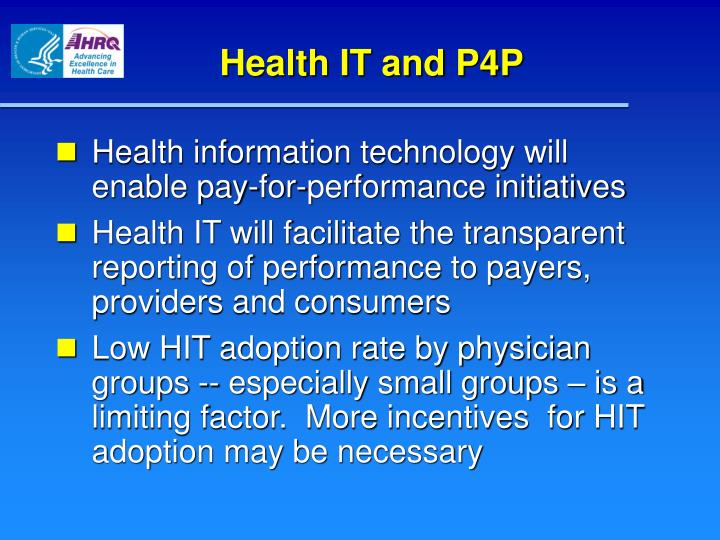 Health IT and P4P