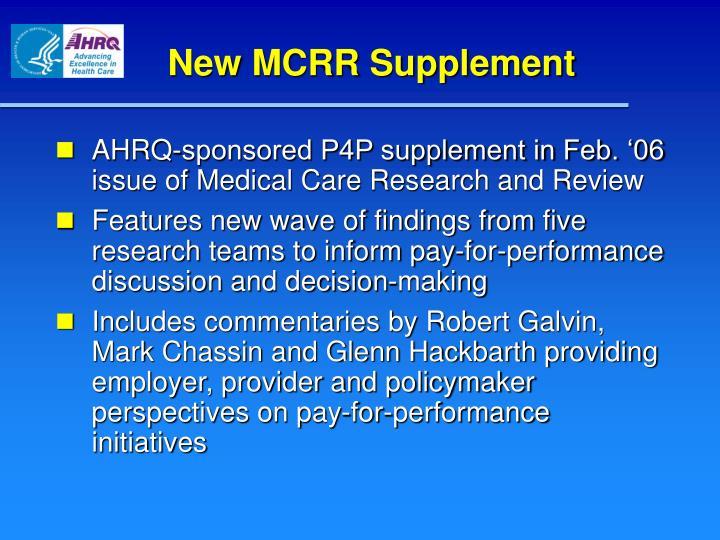 New MCRR Supplement