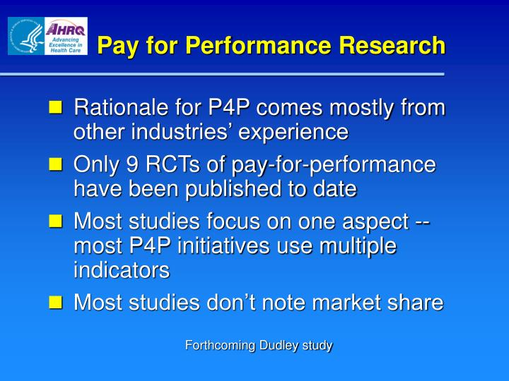 Pay for Performance Research