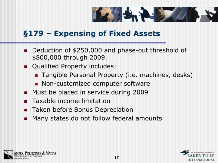 §179 – Expensing of Fixed Assets