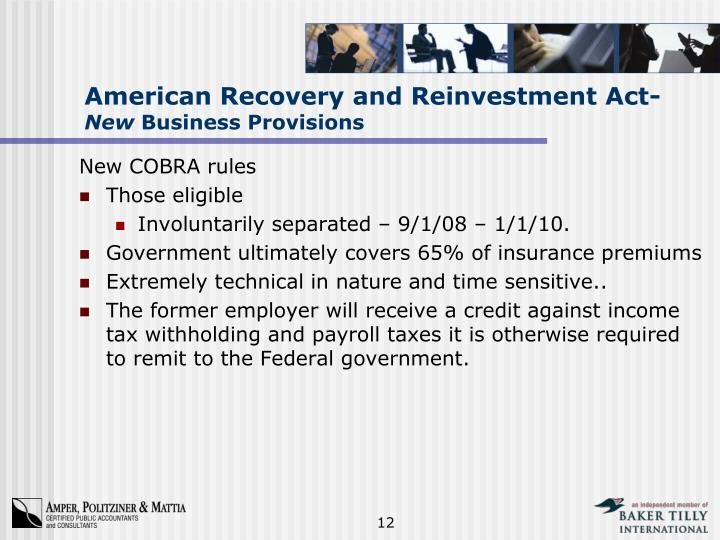 American Recovery and Reinvestment Act-