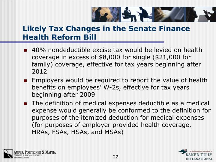 Likely Tax Changes in the Senate Finance Health Reform Bill