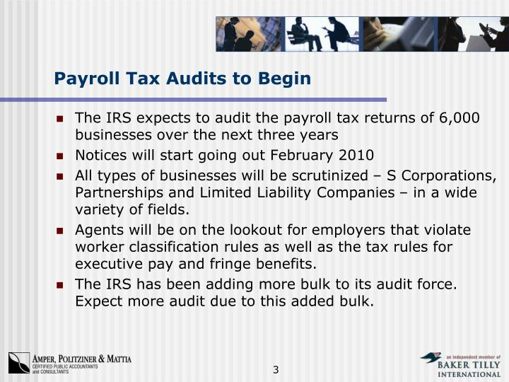 Payroll tax audits to begin