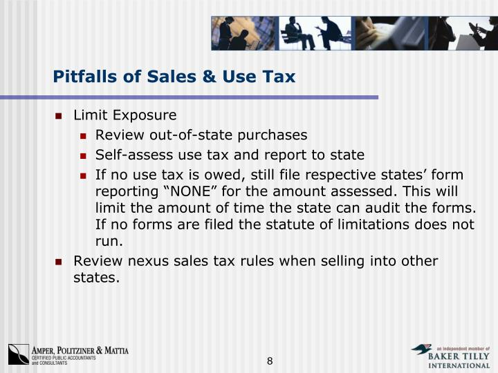 Pitfalls of Sales & Use Tax