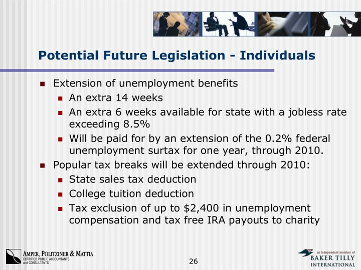 Potential Future Legislation - Individuals