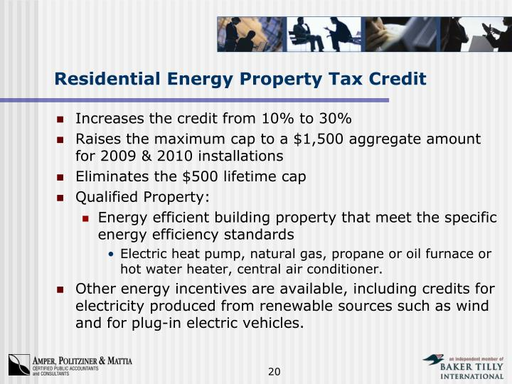 Residential Energy Property Tax Credit