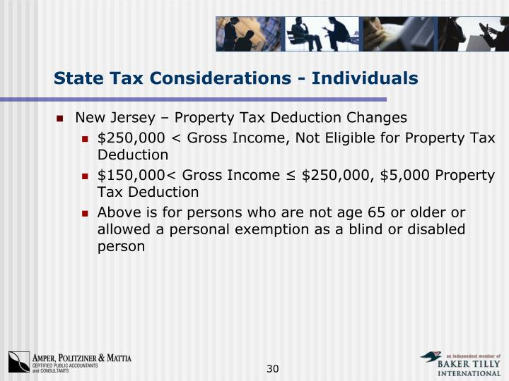 State Tax Considerations - Individuals