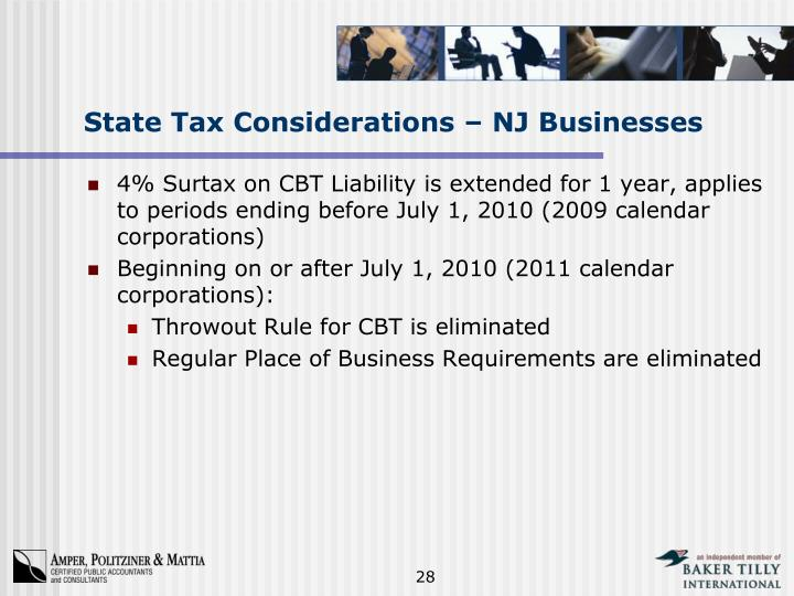 State Tax Considerations – NJ Businesses