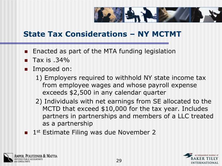 State Tax Considerations – NY MCTMT