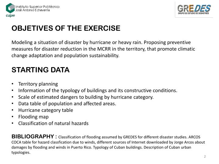 OBJETIVES OF THE EXERCISE
