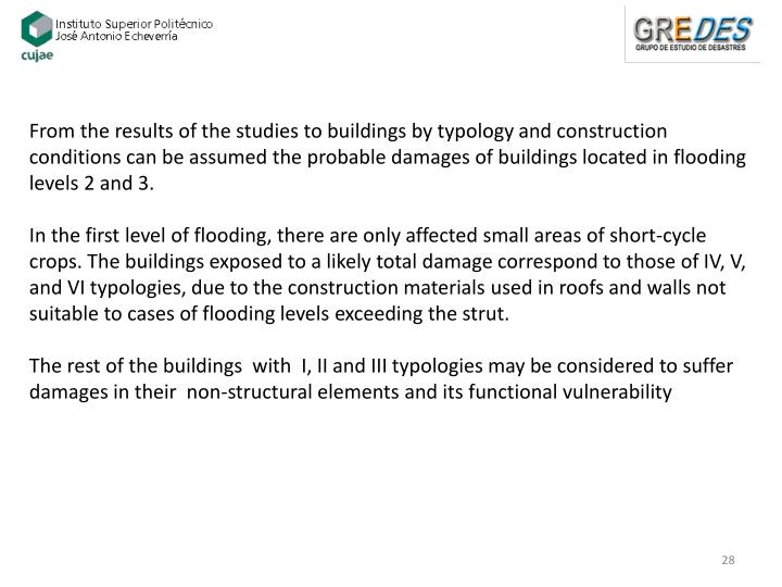 From the results of the studies to buildings by typology and construction conditions can be assumed the probable damages of buildings located in flooding levels 2 and 3.