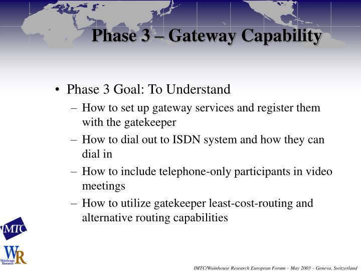 Phase 3 – Gateway Capability
