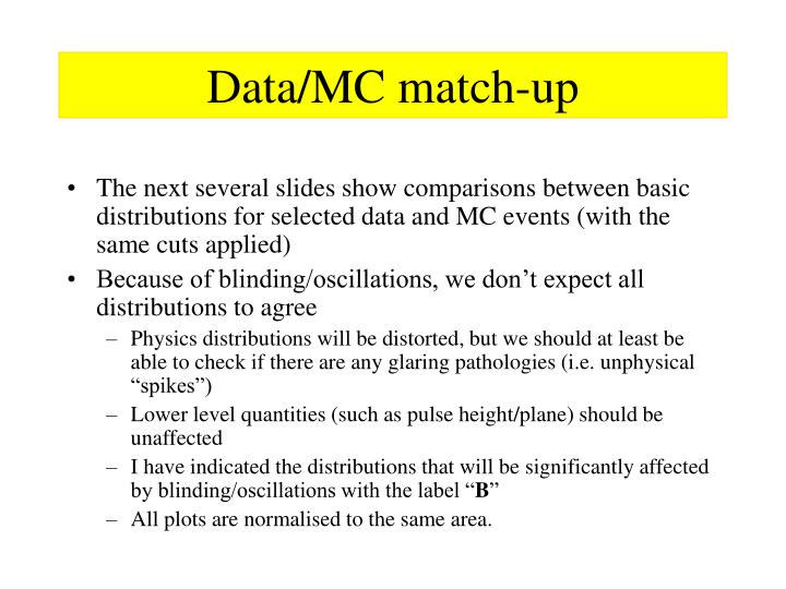 Data/MC match-up
