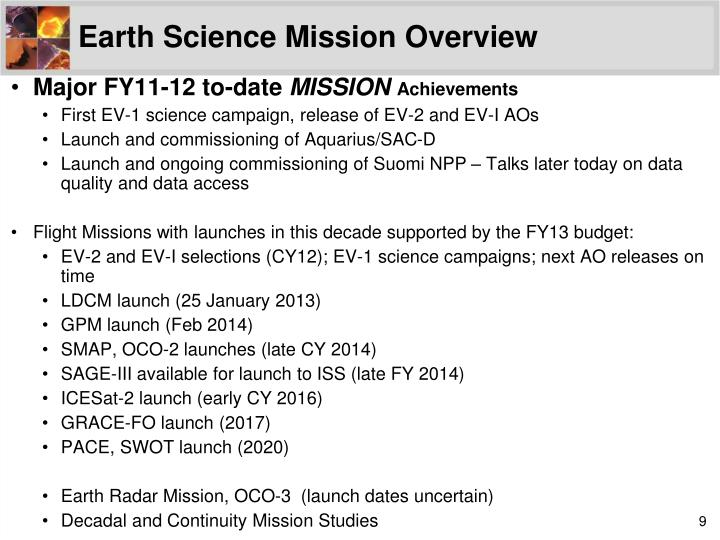 Earth Science Mission Overview