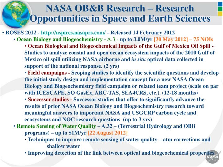 NASA OB&B Research – Research Opportunities in Space and Earth Sciences
