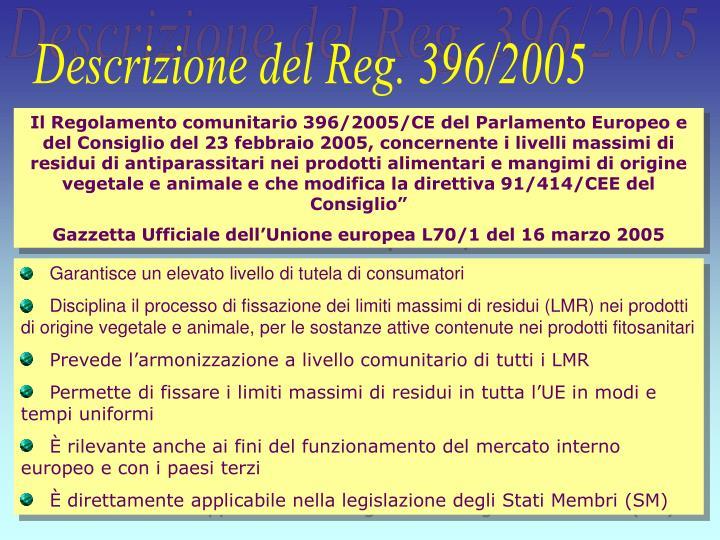 Descrizione del Reg. 396/2005