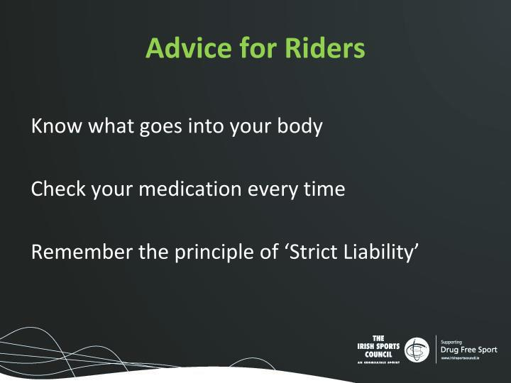 Advice for Riders