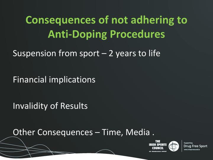 Consequences of not adhering to Anti-Doping Procedures