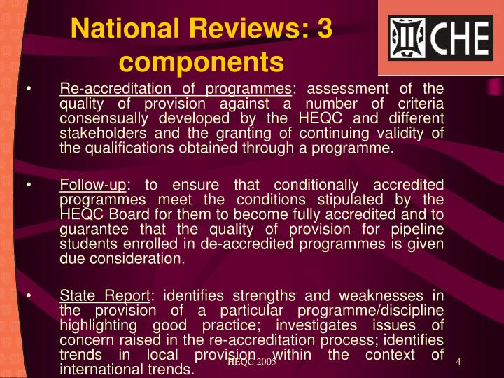 National Reviews: 3 components