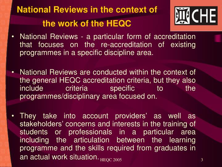 National Reviews in the context of the work of the HEQC