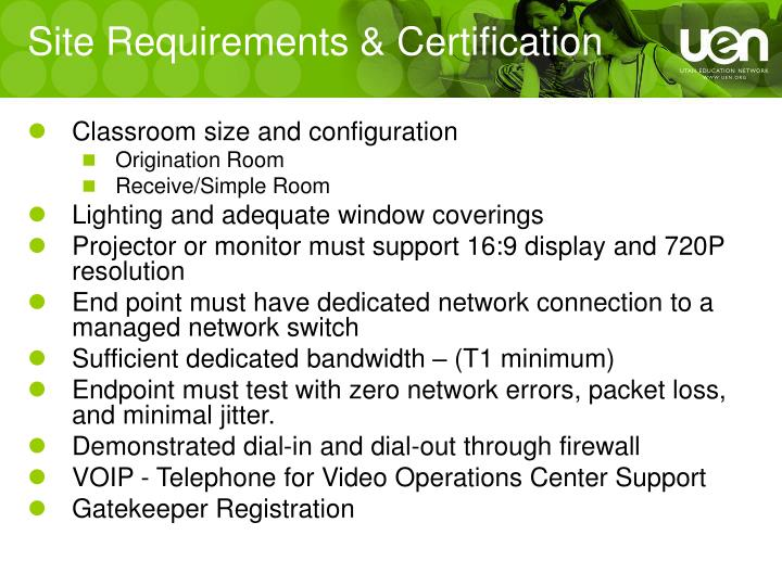 Site Requirements & Certification