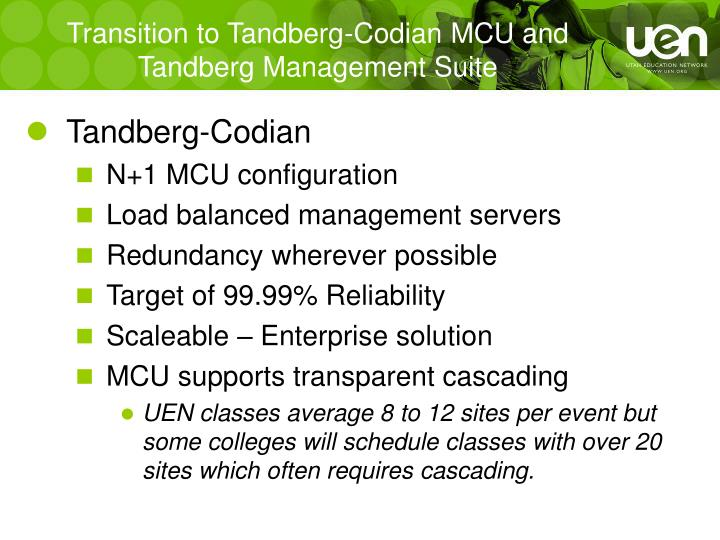 Transition to Tandberg-Codian MCU and Tandberg Management Suite