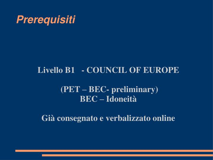 Livello b1 council of europe pet bec preliminary bec idoneit gi consegnato e verbalizzato online