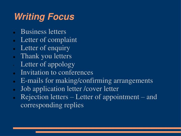 Writing Focus