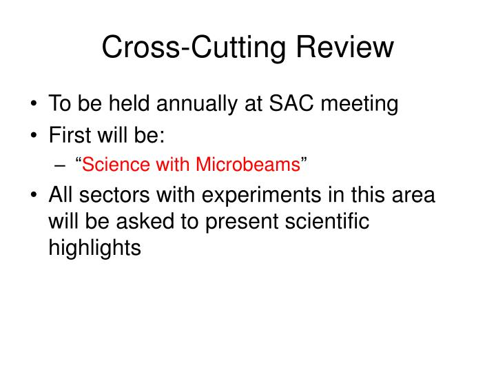Cross-Cutting Review