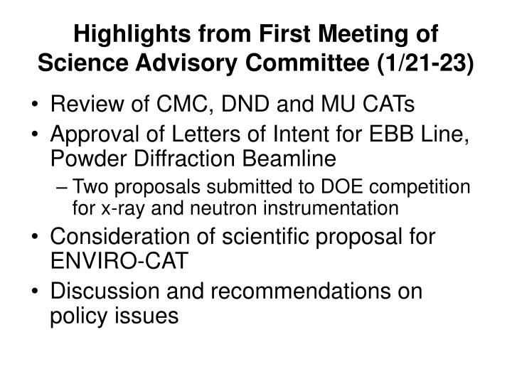 Highlights from First Meeting of Science Advisory Committee (1/21-23)