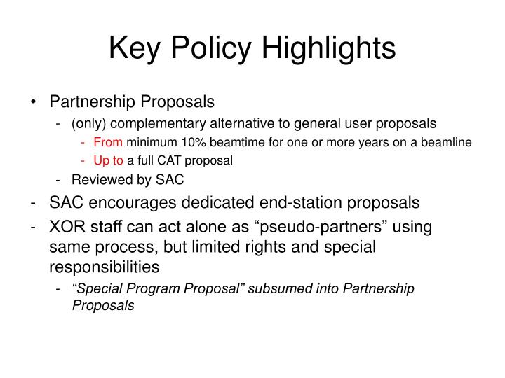 Key Policy Highlights