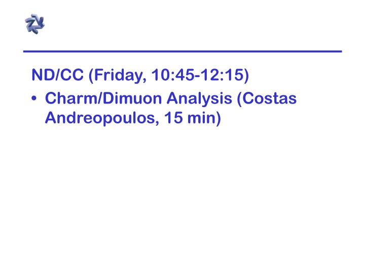 ND/CC (Friday, 10:45-12:15)