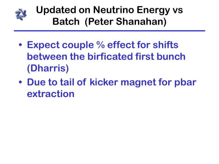 Updated on Neutrino Energy vs Batch  (Peter Shanahan)