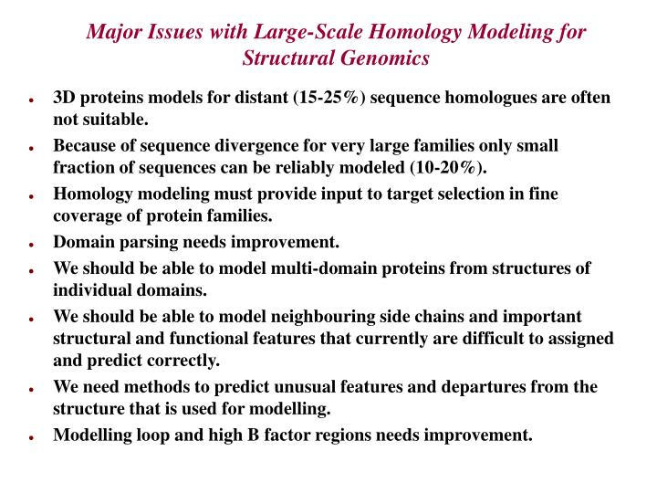 Major issues with large scale homology modeling for structural genomics