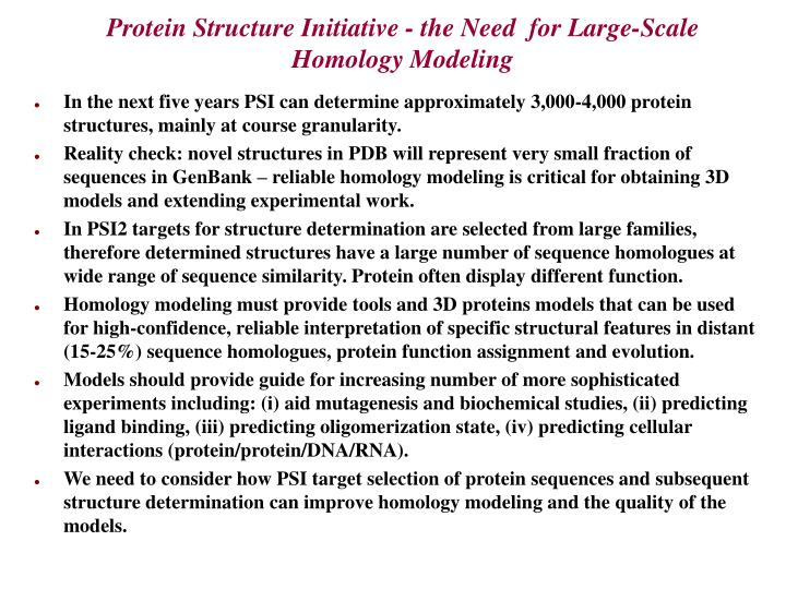 Protein structure initiative the need for large scale homology modeling