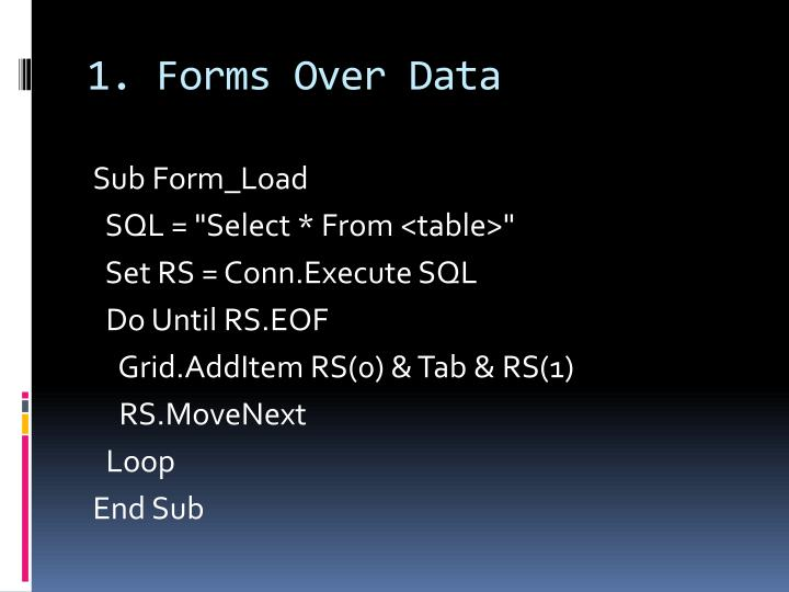 1. Forms Over Data