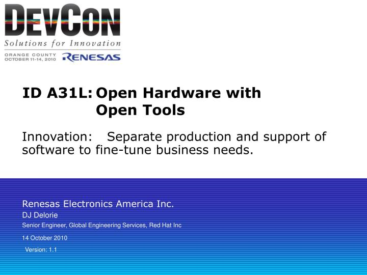 Id a31l open hardware with open tools