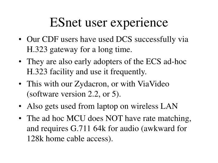ESnet user experience