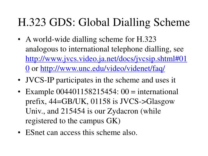 H.323 GDS: Global Dialling Scheme