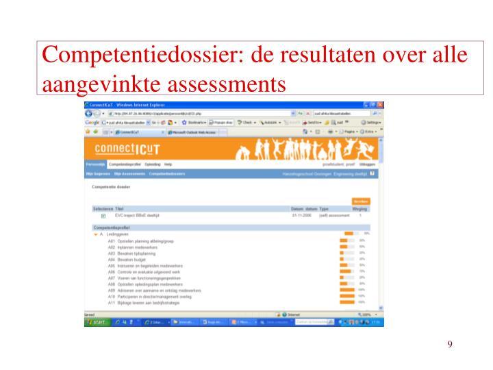 Competentiedossier: de resultaten over alle aangevinkte assessments
