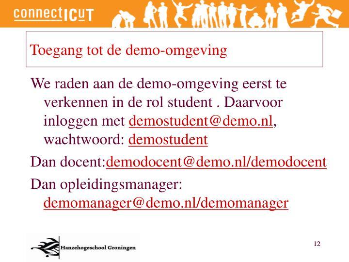 Toegang tot de demo-omgeving