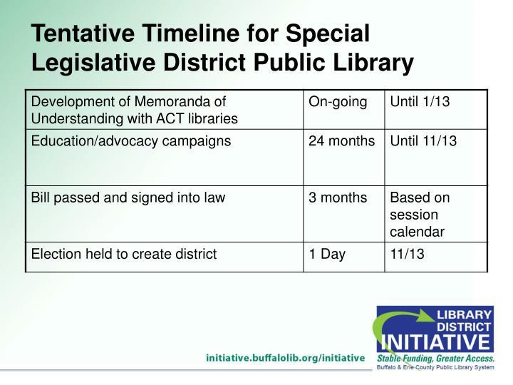 Tentative Timeline for Special