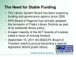 the need for stable funding2