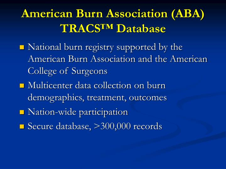 American Burn Association (ABA) TRACS