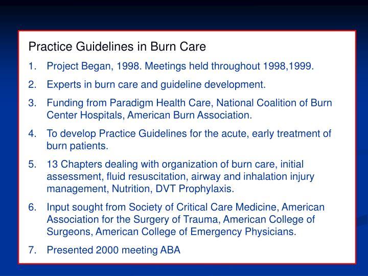 Practice Guidelines in Burn Care