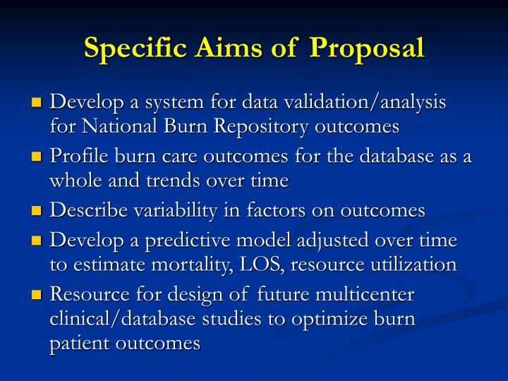 Specific Aims of Proposal