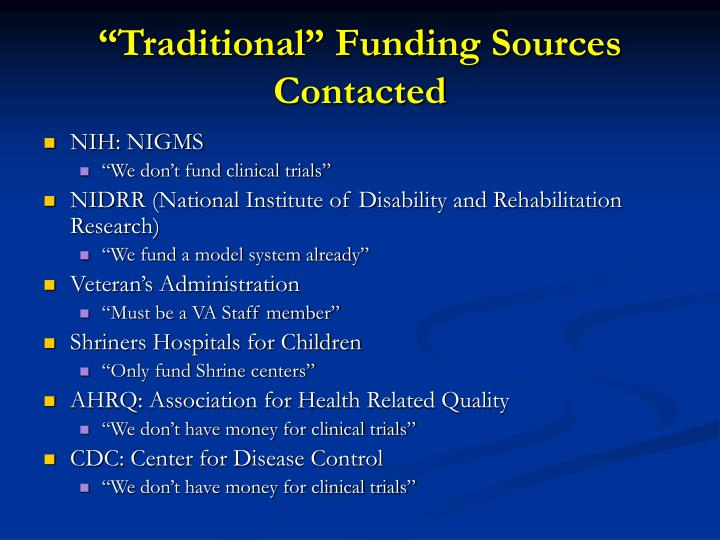 """""""Traditional"""" Funding Sources Contacted"""