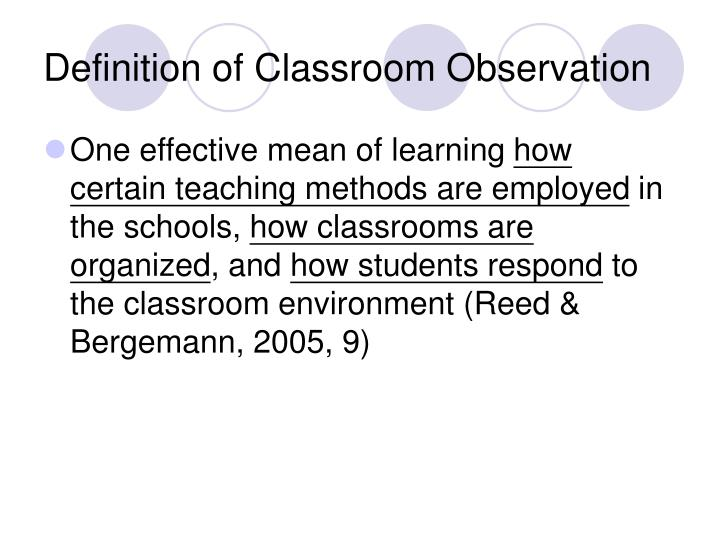 Definition of Classroom Observation